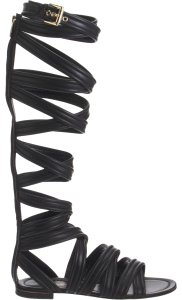 Gianvito Rossi Leather Flat Gold Black Sandals