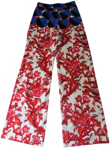 Dries van Noten Wide Leg Pants Red Japanese Motif Blue Yoke