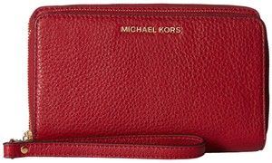 Michael Kors Michael Kors Adele Cherry Leather Double Zip Phone Wristlet Wallet