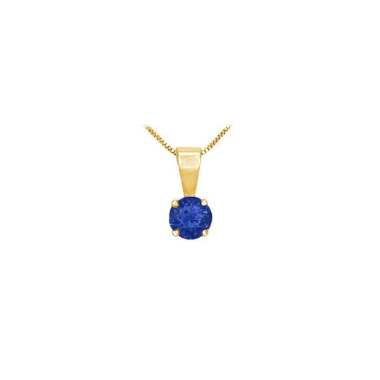 Preload https://img-static.tradesy.com/item/23669478/blue-created-sapphire-solitaire-pendant-yellow-gold-vermeil-100-ct-tgw-necklace-0-0-540-540.jpg