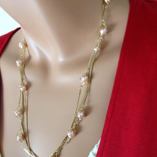 n/a Gold plated pink peal necklace Image 1