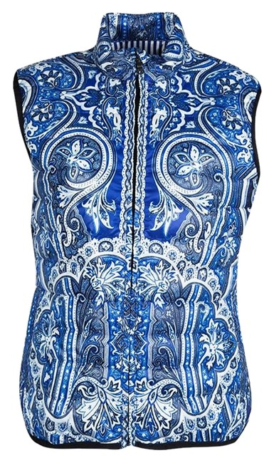 Item - Blue L Paisley Printed Quilted Puffer Vest Size 12 (L)