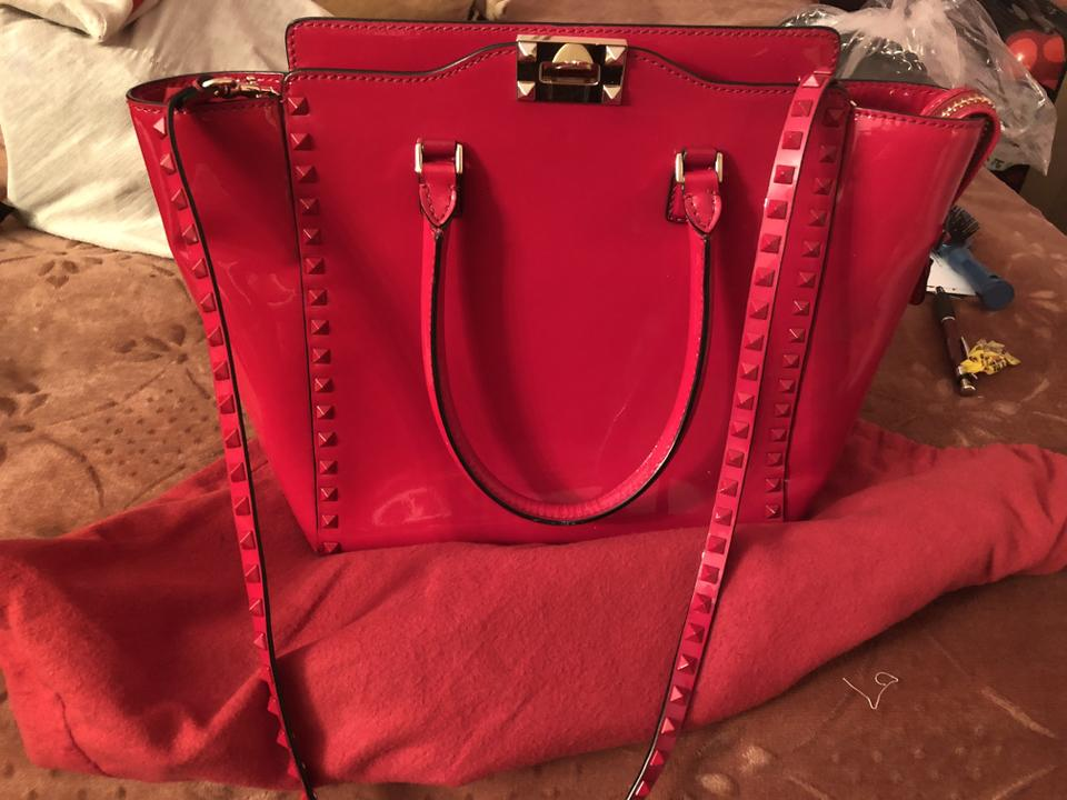 Handle Red Patent Valentino Leather Rockstud Tote Double 7E7ZnPqxHw