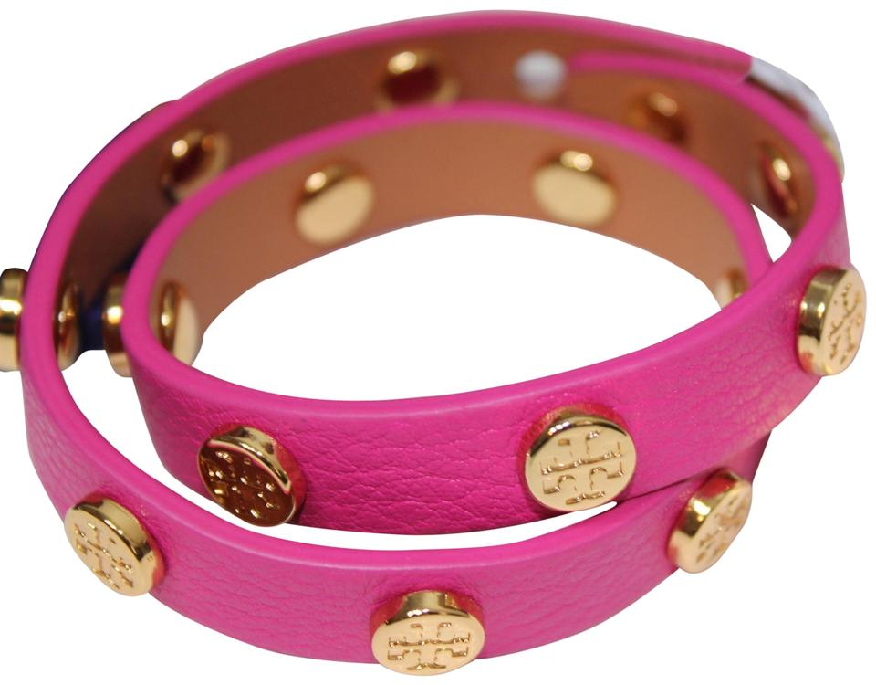 c0ceac98302a Tory Burch Pink Gold New Double Wrap Logo Studded Dust Bag Bracelet ...