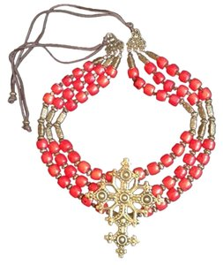 artisan Red Coral Necklace w/ Bronze Cross