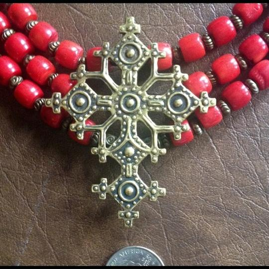 artisan Red Coral Necklace w/ Bronze Cross Image 1