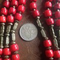 artisan Red Coral Necklace w/ Bronze Cross Image 2