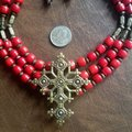 artisan Red Coral Necklace w/ Bronze Cross Image 3