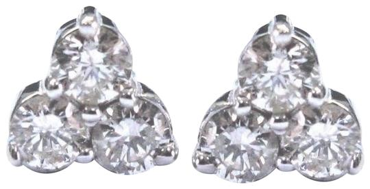 custom Fine Round Cut Diamond 6-Stone White Gold Stud Earrings .93Ct 14KT Image 0