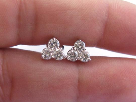 custom Fine Round Cut Diamond 6-Stone White Gold Stud Earrings .93Ct 14KT Image 2