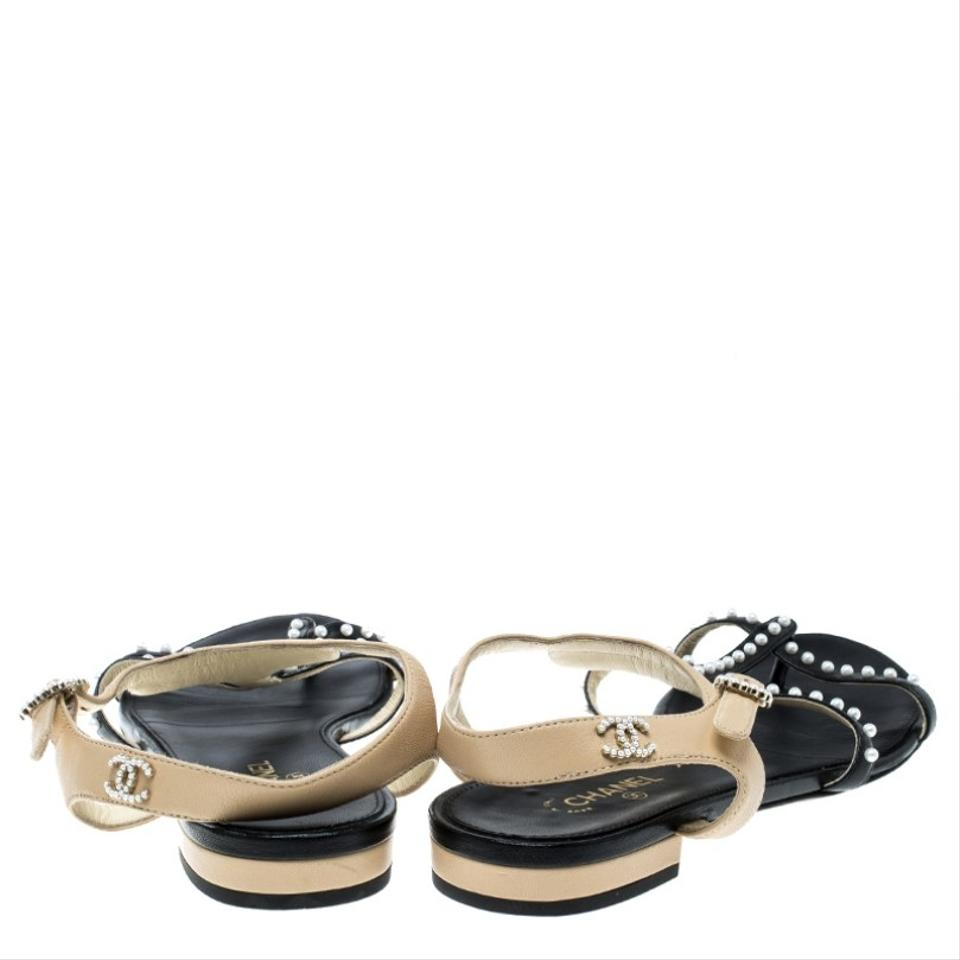 494ffb414 Chanel Black Black Beige Leather Faux Pearl Embellished Strappy Sandals  Flats