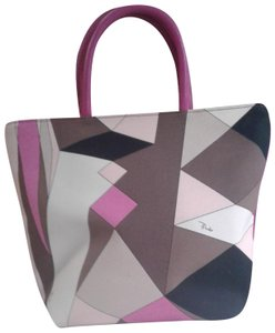 Emilio Pucci Canvas Leather Tote In Pink Brown White Beige