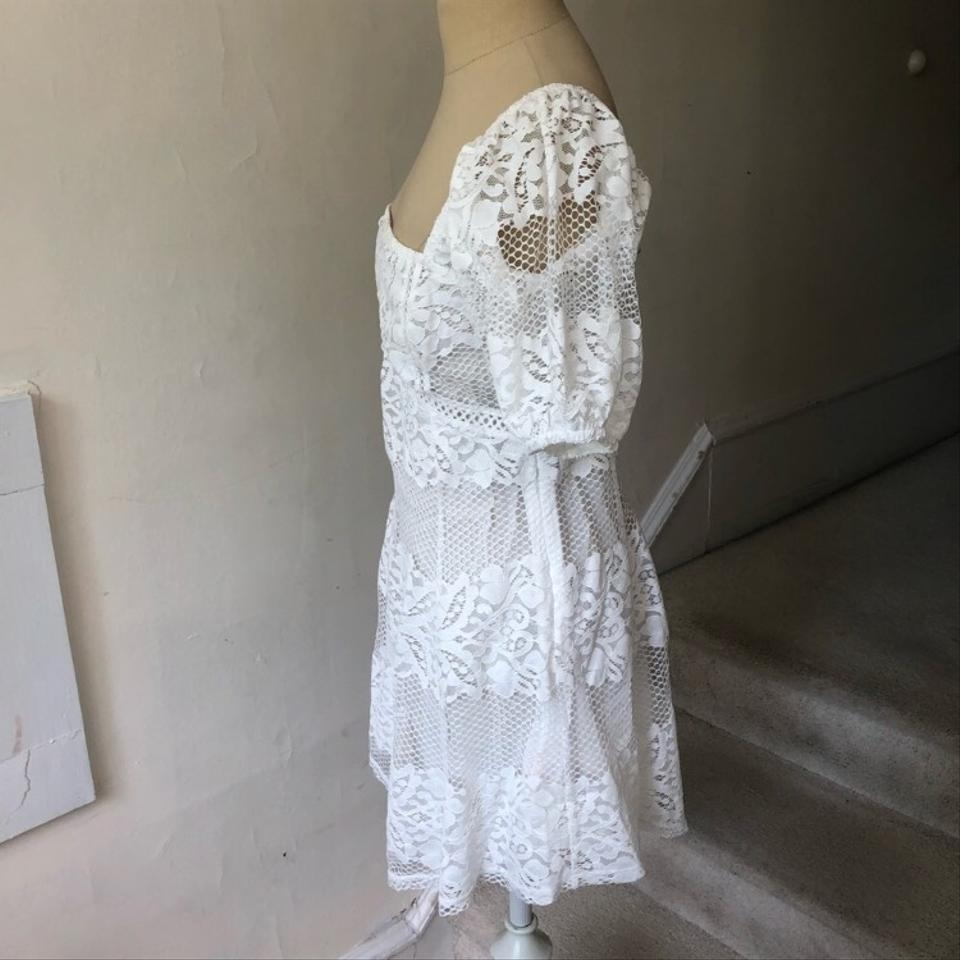 a5d550da3e2 Free People White Be Your Baby Lace Babydoll Short Casual Dress Size ...