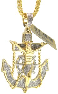 Other 10KT. Franco Chain with Anchor Charm Pendant Necklace