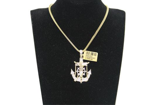 Other 10KT. Franco Chain with Anchor Charm Pendant Necklace Image 1