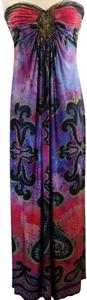 Boston Proper Strapless Embellished Jeweled Ruched Stretchy Dress