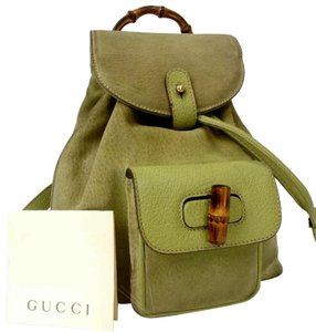 bc41e245722 Gucci Bamboo Drawstring Suede Leather Backpack