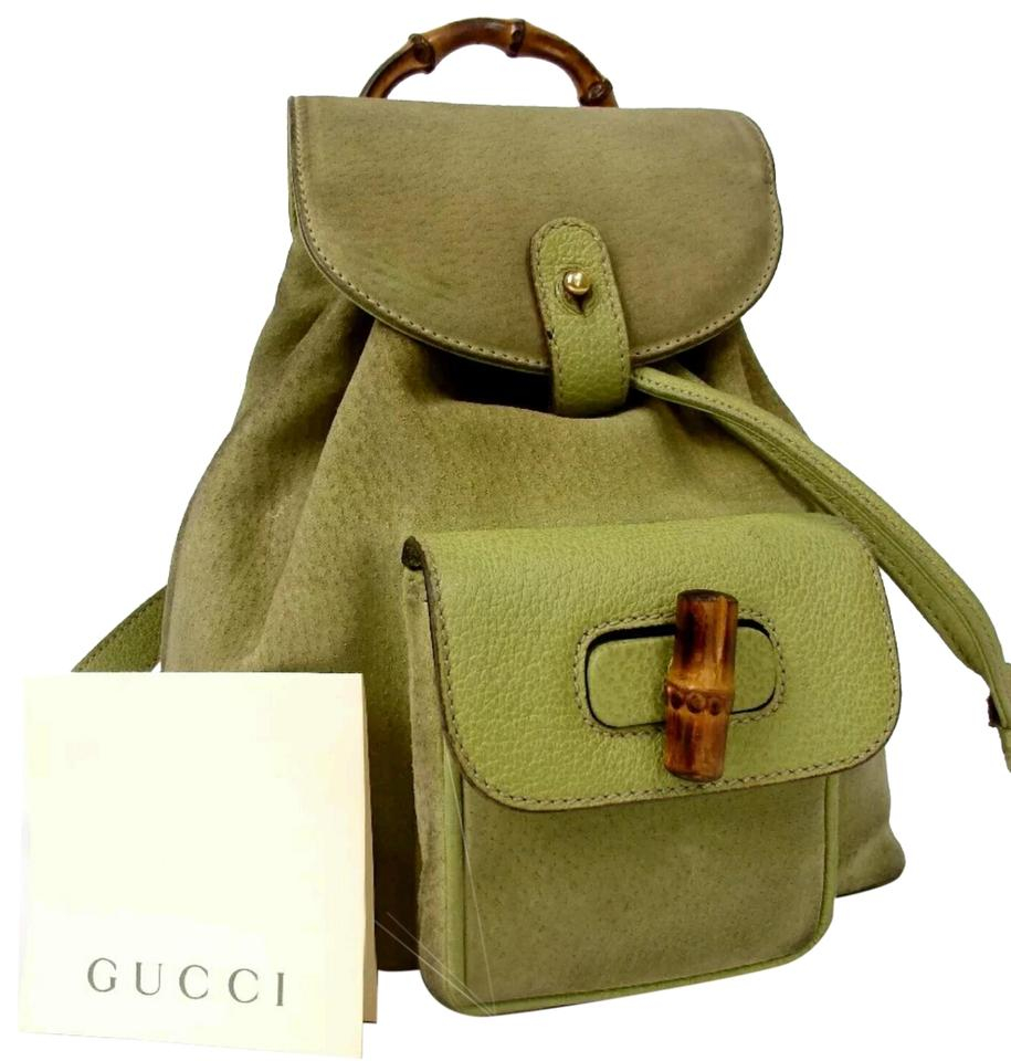 Gucci Rare Light Guccissima Purse Daypack Green Suede Leather ... b858a53c39251