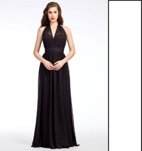Hayley Paige Black Chiffon Collections 5670 Traditional Bridesmaid/Mob Dress Size 8 (M)