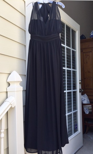 Hayley Paige Black Chiffon Collections 5670 Traditional Bridesmaid/Mob Dress Size 8 (M) Image 2