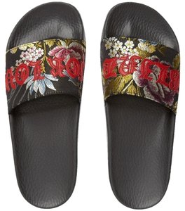 Gucci Gg Louis Vuitton Flip Flops Black Sandals