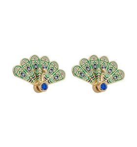 Kate Spade KATE SPADE 12K Gold Plated Full Plume Peacock Stud Earrings