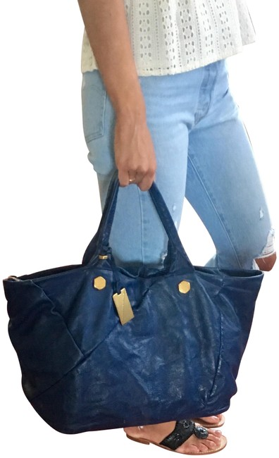 Item - Oversized Slouchy Blue Leather Tote