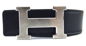 Hermès 32Mm Classic Brushed Silver H Reversible Belt leather Size 75