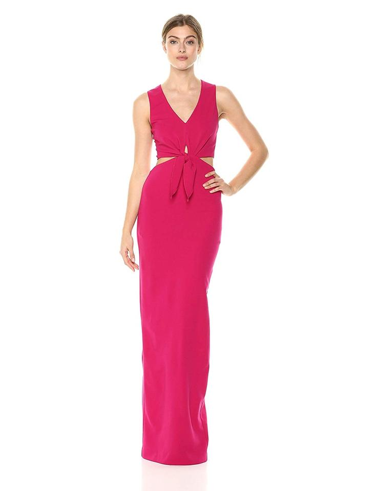 18395ec3 Nicole Miller New Fuschia Pink Jersey Grayson Structured Heavy Column Tie  Front Gown Formal Dress