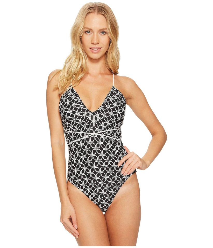 222b664996 Michael Kors Black White Rope Geo Wrap Shirred Neck One-piece Bathing Suit