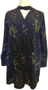 Wild Pearl Floral Tie Front V-neck Long Tunic