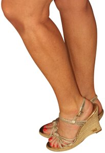 MICHAEL Michael Kors Strappy Rope Espadrille Gold Wedges