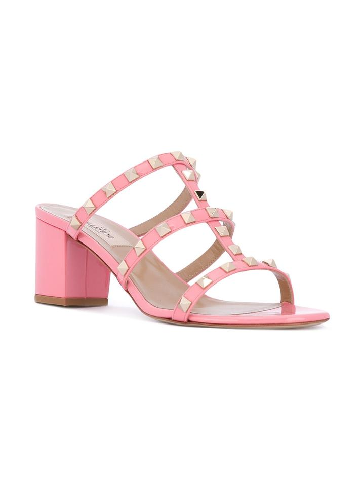 e66a1480ca74 Valentino Shadow Pink Rockstud Caged 60mm Slide Sandals Size US 10 Regular ( M