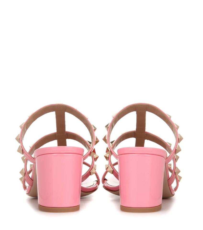 3c02d6759c67 Valentino Shadow Pink Rockstud Caged 60mm Slide Sandals Size US 10 ...