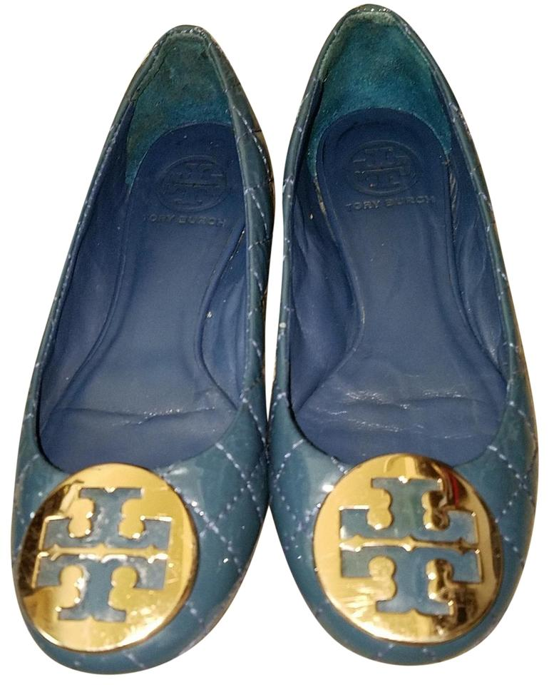 2be2bd4379e Tory Burch Teal Quinn Quilted Patent Ballet Gold Leather Logo Flats ...