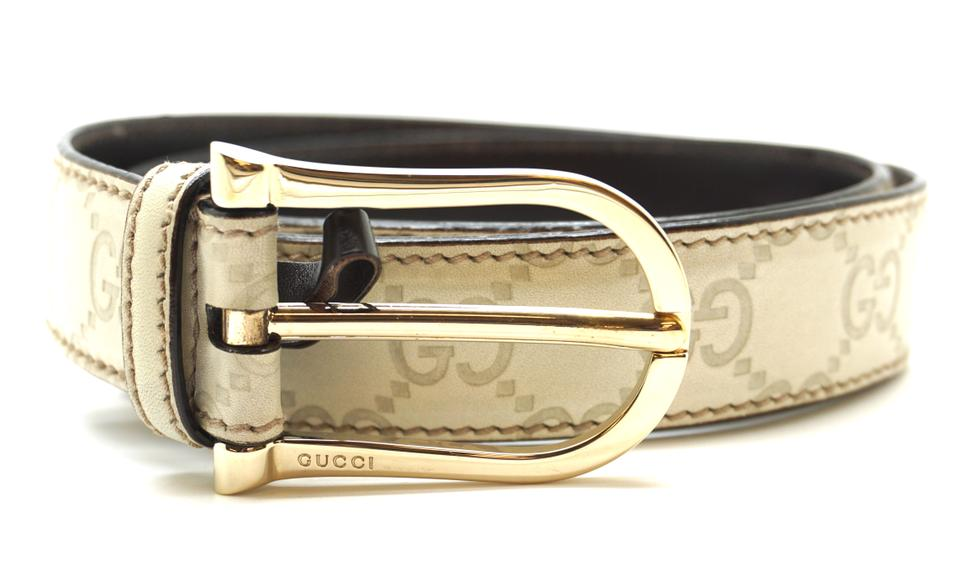 74a02d9a0c0 Gucci  20343 Cream On Dark Brown Gg Gold Buckle Leather Size 80 32 ...