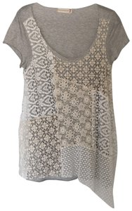 4 Love and Liberty T Shirt Heather grey/beige