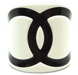 Chanel Extra Wide CC bicolor two tone Cuff Bracelet Bangle