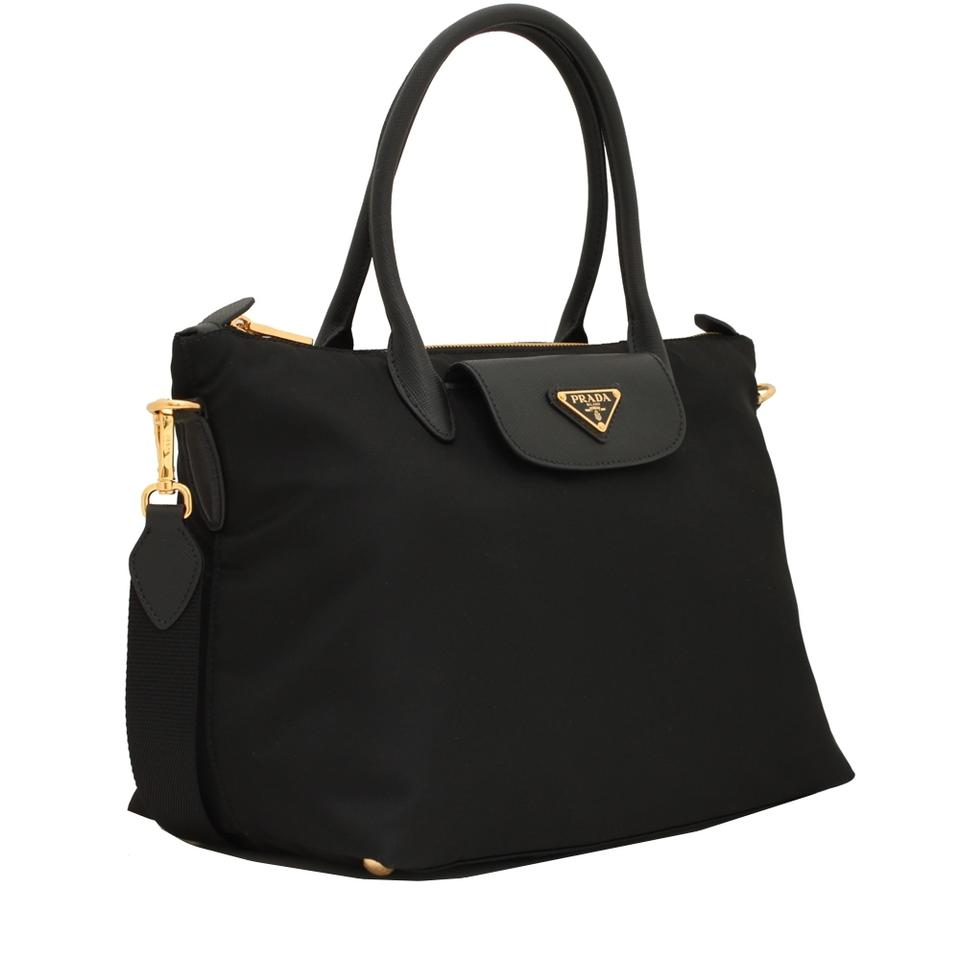 Prada Tessuto Saffiano Nylon Shopping 1ba106 Black Leather Tote ... e54ebca93eb25