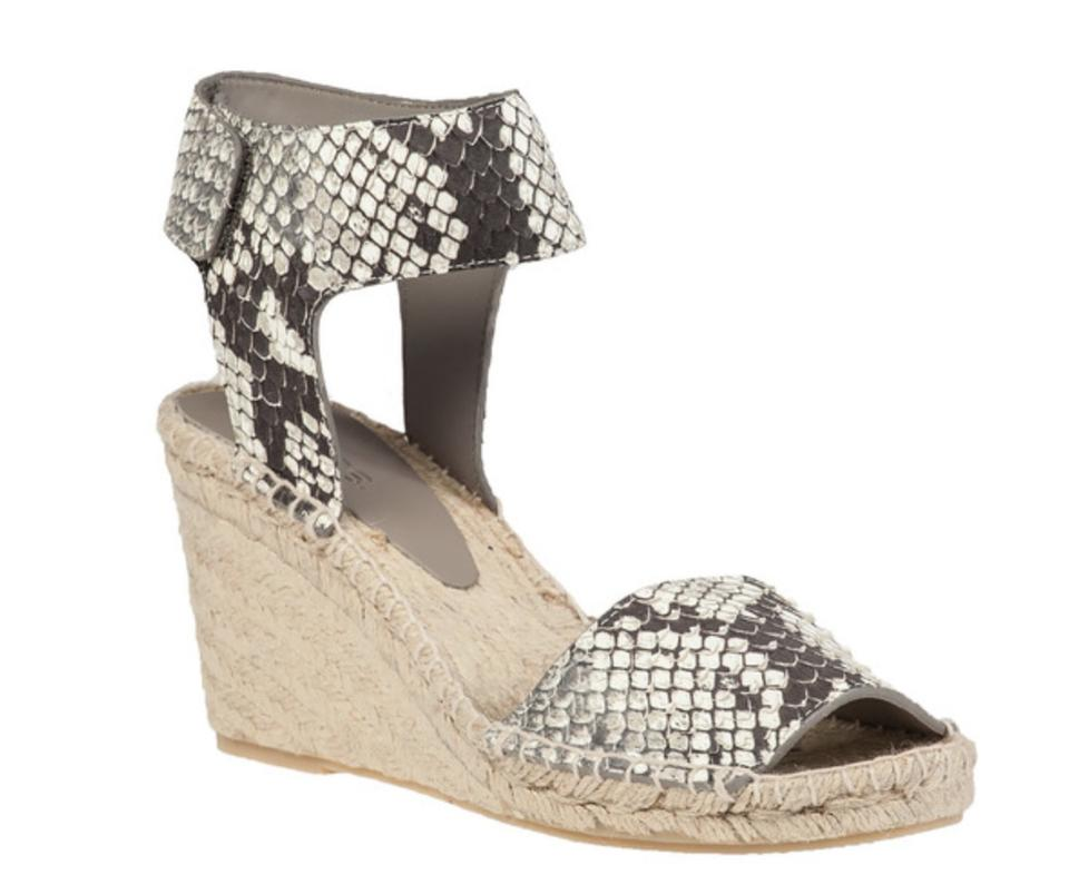 Vince Snakeskin Black Print New In Box Sophie Wedge Espadrille Black Snakeskin White Snake Sandals 8a0284