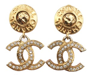 Chanel Chanel Gold Plated Word Round CC Crystal Dangle Clip on Earrings
