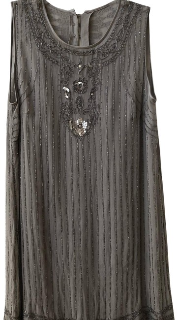 Item - Gray Beaded Mid-length Cocktail Dress Size 6 (S)