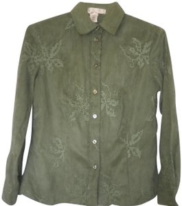773771b2 Coldwater Creek Embroidered Longsleeve Button Front Button Down Shirt Green