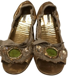 Miu Miu Metallic Gold/Green Gem Flats