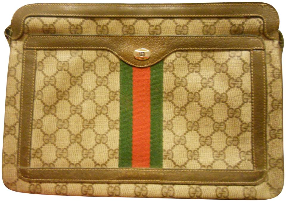 902ba991dd Gucci Vintage Emblem Leather Trimmed Signature Stripes Made In Italy Cross  Body Bag Image 0 ...