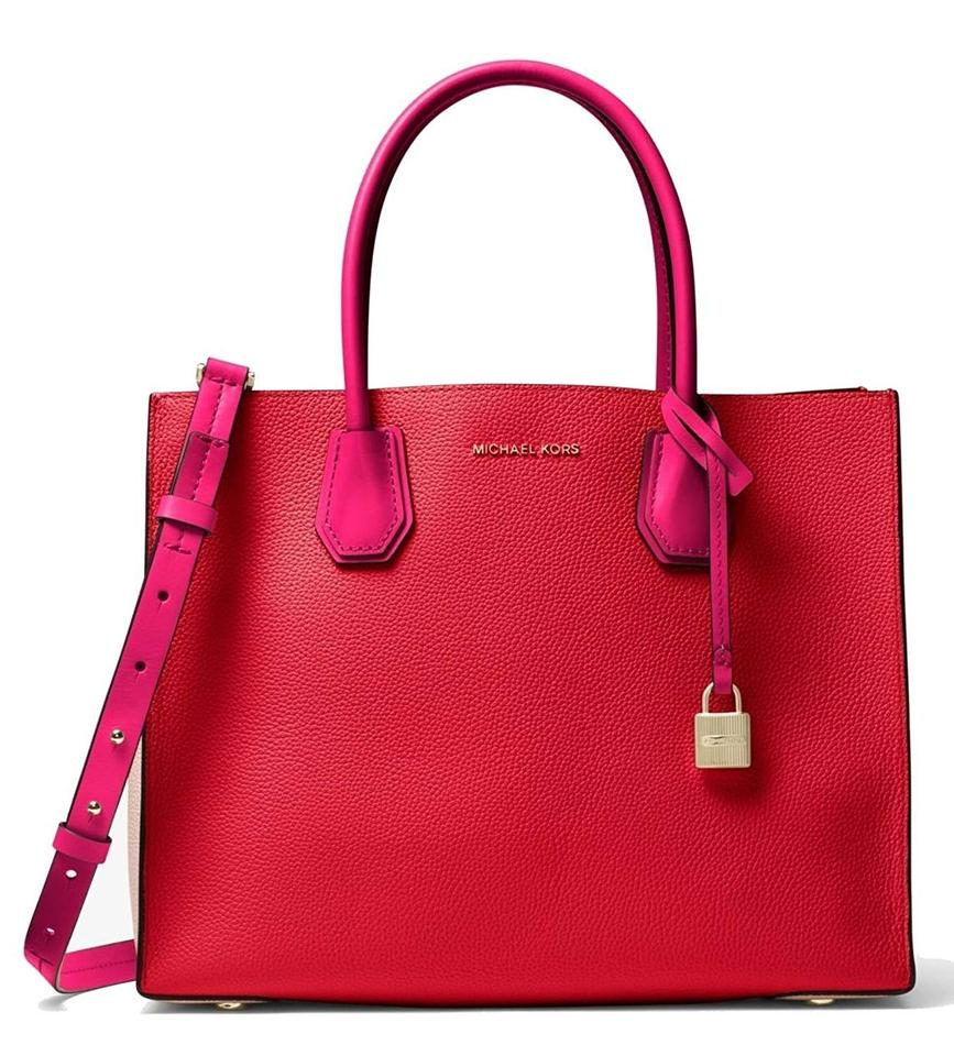 dc3094c0b1a91b MICHAEL Michael Kors Mercer Large Color-block Tote Bright Red Soft Pink  Ultra Pink Leather Satchel