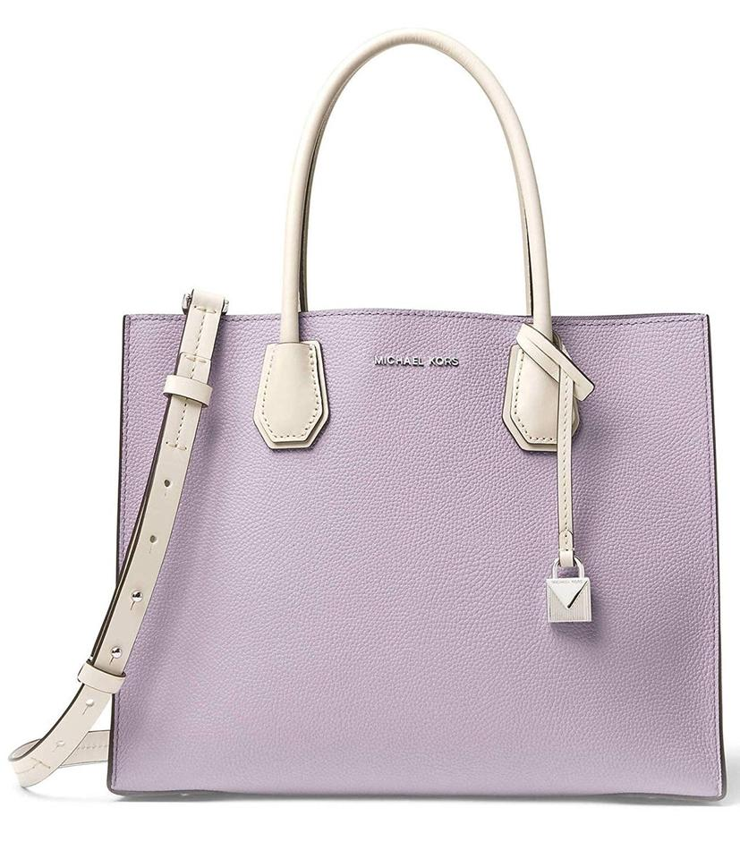 336b2ea56101 MICHAEL Michael Kors Mercer Large Color-block Tote Light Quartz  Light  Cream  Amethyst Leather Satchel