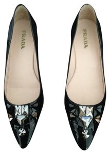 Prada Black patent leather embellished with stones Flats