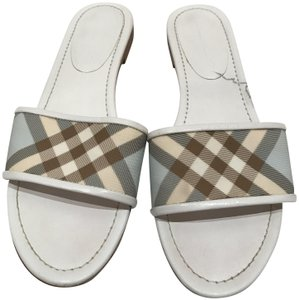 Burberry White/Light Blue/Beige Sandals