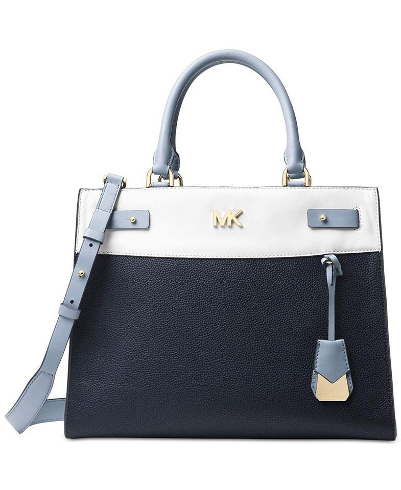 2ae0a414b71e03 MICHAEL Michael Kors Large Regan Tote/Satchel Pebbled Leather Shoulder  Satchel in Admiral / White ...